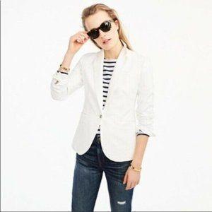 J. Crew Unstructured Blazer in Cotton-Linen White